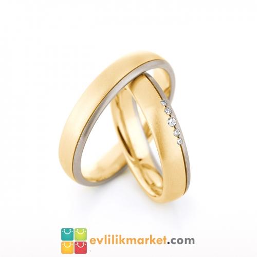 - İki Renk Taşlı Altın Alyans