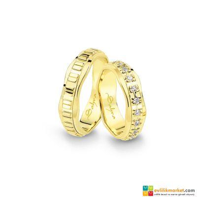 Gelin Damat Alyans - Eğri Altın Alyans 7 MM 7 GRAM - sa-1132