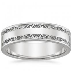 Gelin Damat Alyans - Motifli Gümüş Alyans