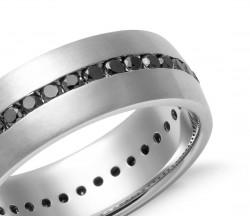 Siyah Sırataşlı Gümüş Alyans - Thumbnail