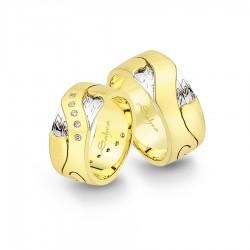 Gelin Damat Alyans - Yeşil Beyaz Altın Alyans - 9 MM 8,5 GRAM - sa-1140